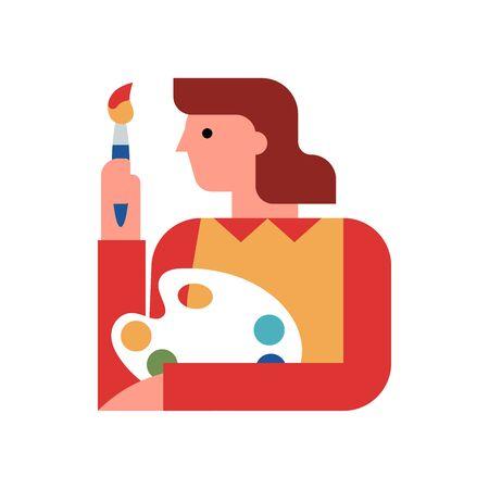 Artist woman flat vector illustration Illusztráció