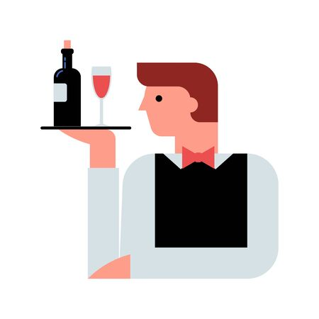 Waiter with wine on the tray flat vector illustration
