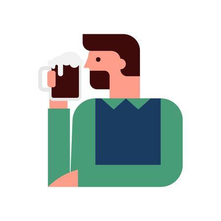 Man is drinking beer vector illustration Illusztráció