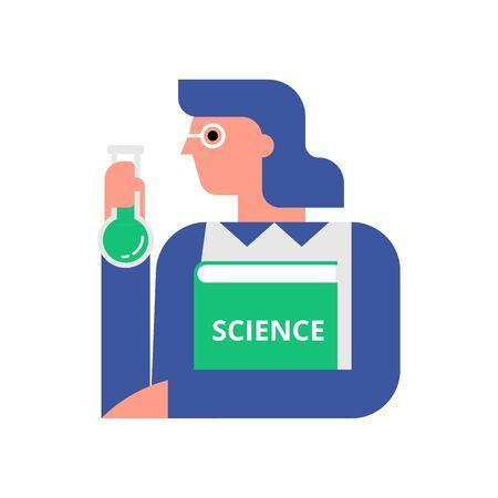 Woman scientist flat vector illustration