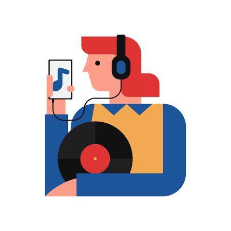 Vector illustration of woman listening to music on smartphone Illusztráció