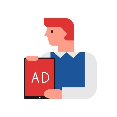 Digital marketer, media advertising vector illustration