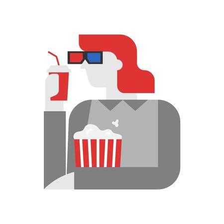 Cinema, woman is watching movie vector illustration