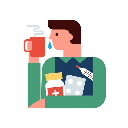 Person with the flu, cold, sickness and medical treatment flat vector illustration