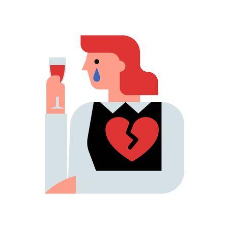 Broken hearted woman heart vector illustration Illusztráció