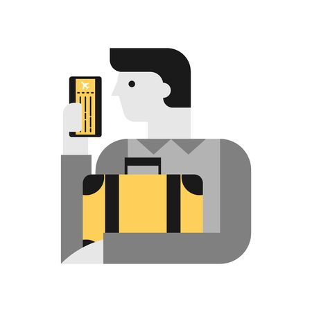Travel vector illustration, man with baggage and airline ticket