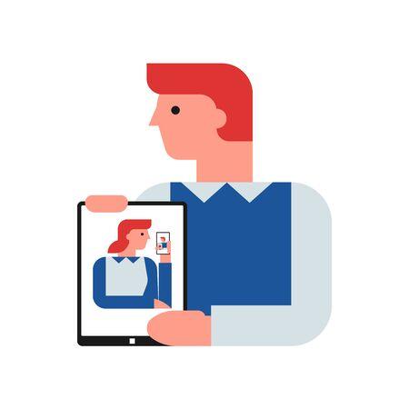 Video conferencing flat vector illustration