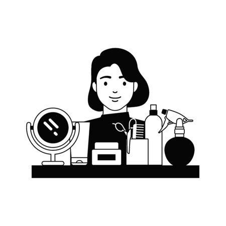 Hairdresser, hair salon vector illustration