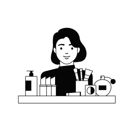 Make-up artist, cosmetologist, beauty salon vector illustration Illusztráció