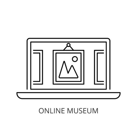 Online museum icon line style Иллюстрация
