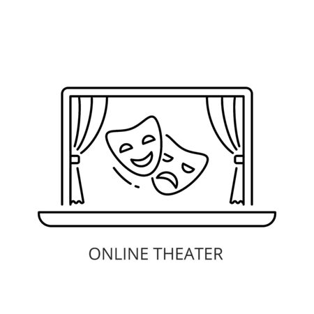 Online theater icon line style