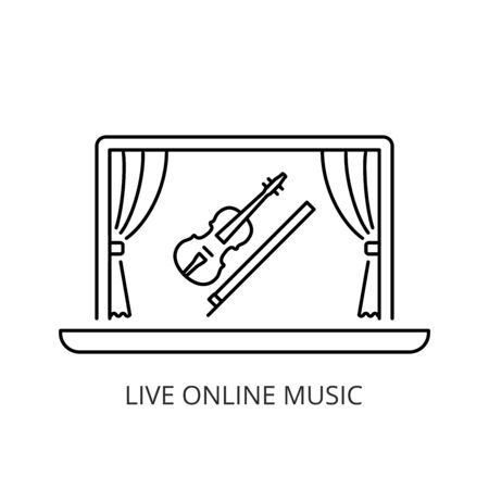 Live online music concert icon line style