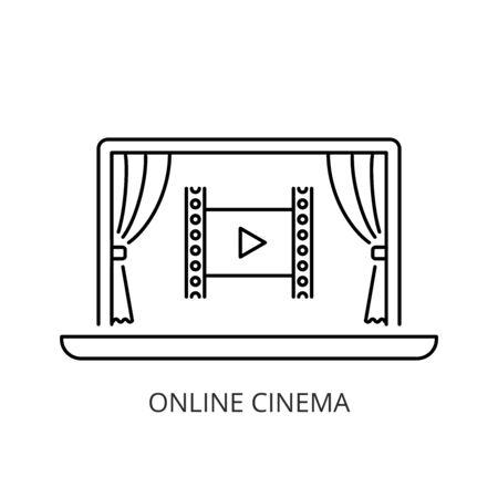 Online cinema icon line style