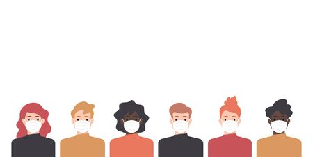 People wearing face mask, coronavirus pandemic, flu, disease illustration Stock fotó - 145860410