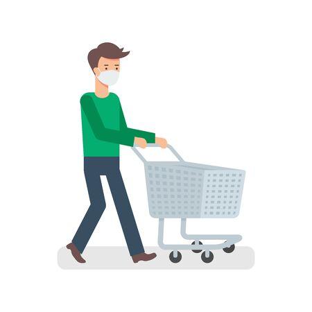A man wearing face mask with empty trolley illustration Illusztráció