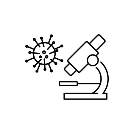 Viruses under the microscope line style icon