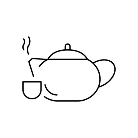 Chinese teapot line style icon Иллюстрация