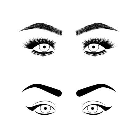 Eyebrows and eyelashes illustration for beauty salon