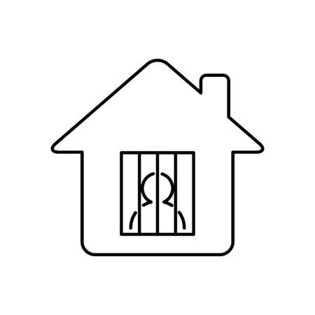 Home isolation, quarantine icon line style Stock fotó - 145860660