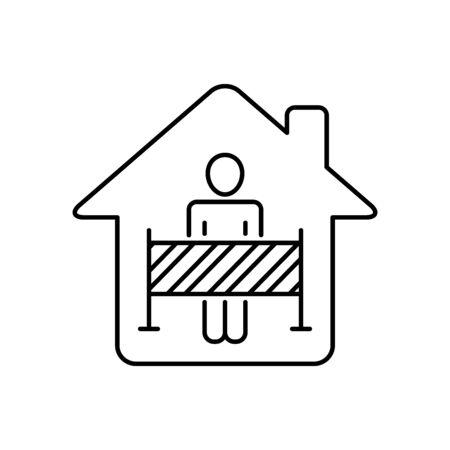 Self-Isolation icon line style Иллюстрация
