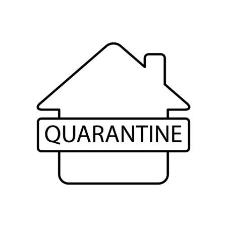 Quarantine, home isolation icon line style Иллюстрация