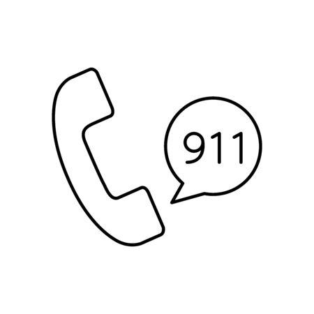 Call 911 icon line style Illusztráció