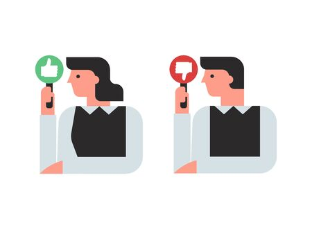 illustration of man and woman with thumb up and thumb down signs, user reviews Illusztráció