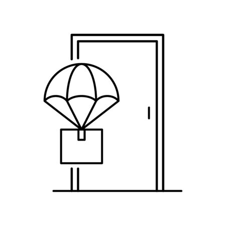 Drone package delivery icon line style