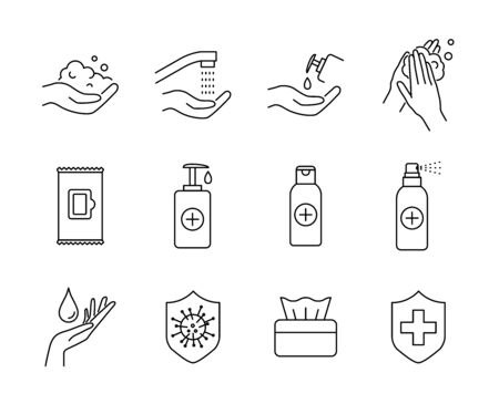 Hand hygiene, washing, sanitizing, protection against viruses or bacteria vector icons set Stock fotó - 144779973