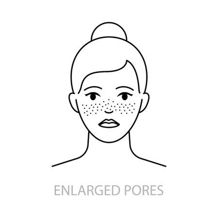 Enlarged pores vector icon line style Иллюстрация