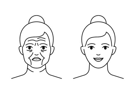 Old and young women faces vector icon line style