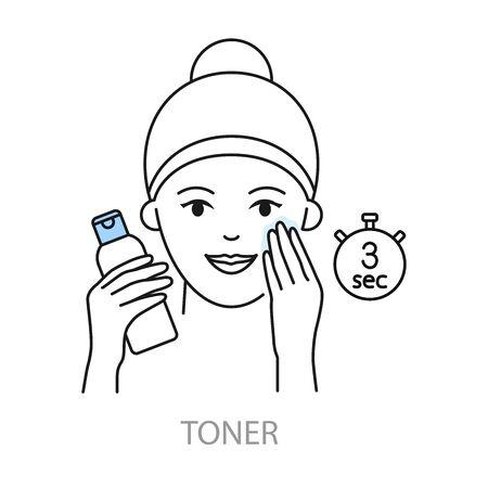 Applying toner vector icons korean skin care Иллюстрация