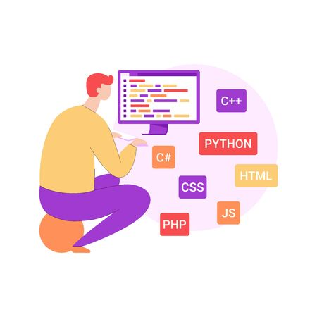 Programmer working on computer, study of programming languages vector illustration