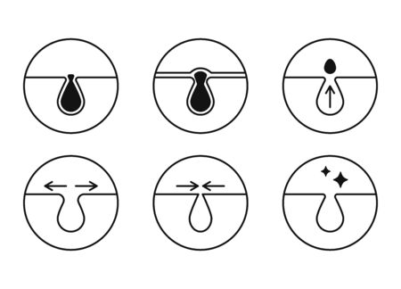 Blackheads and pores vector icons set