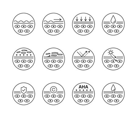 Skin care, beauty treatment, skin layers vector icons set