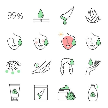 Aloe vera skin care vector icons