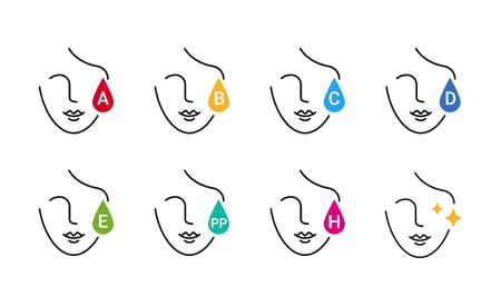 Vitamins for skin: A, B, C, E, D, PP, H vector icons Stock fotó - 145612882