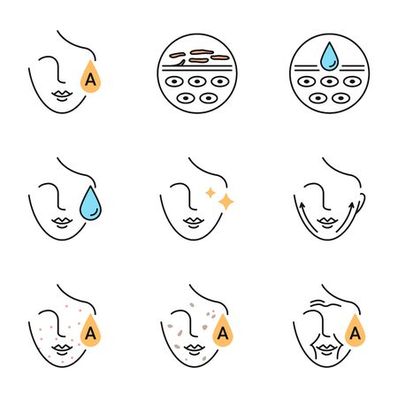 Vitamin A retinol benefits for the skin icons set Illustration