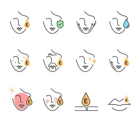 Vitamin E benefits for the skin icons set