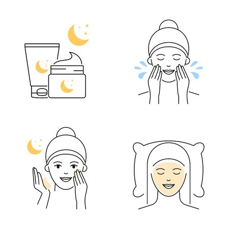 Night facial mask skin care beauty products vector illustration