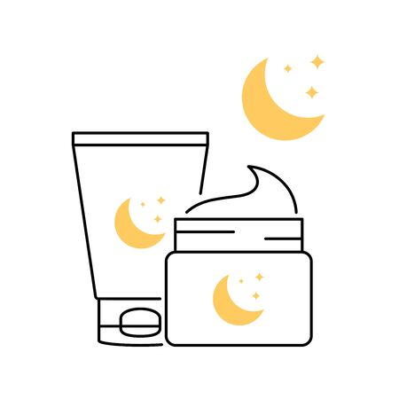 Night mask skin care vector icons