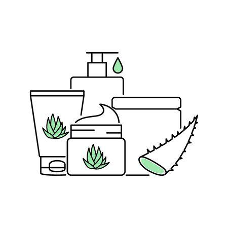 Aloe vera skin care beauty products vector illustration