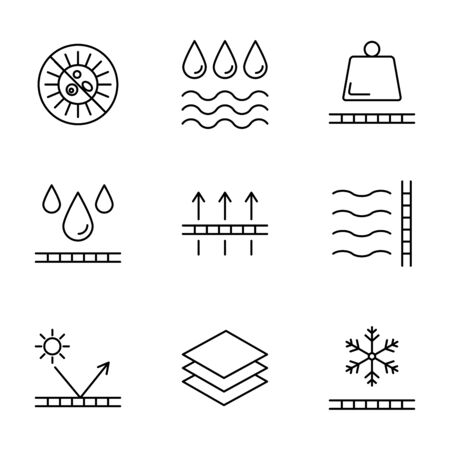 Physical properties and characteristics of fabrics vector icons Stock fotó - 145612892
