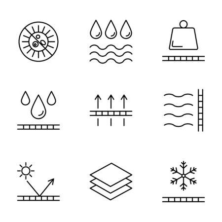 Physical properties and characteristics of fabrics vector icons Иллюстрация