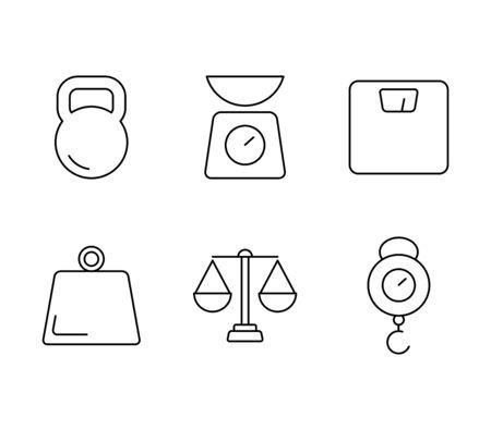Weight measurement tools vector icons Иллюстрация