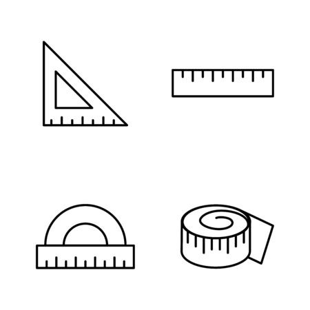 Rulers vector icons line style