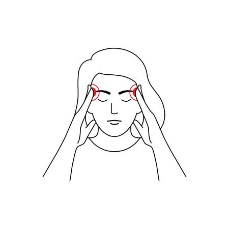 Headache, migraine vector illustration line style