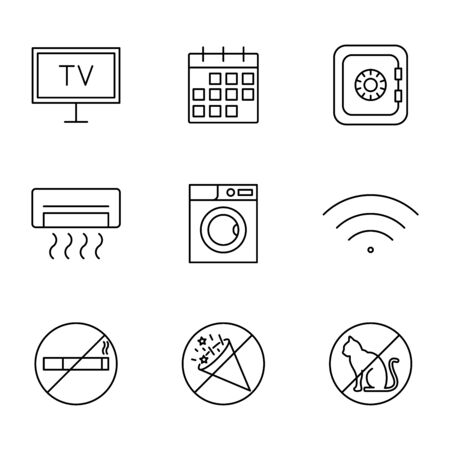Hotel and accommodation vector icons line style Stock fotó - 146965142