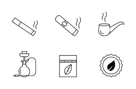 Cigarettes and tobacco vector icons Stock fotó - 146965139