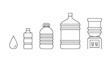 Water bottles icons set line vector